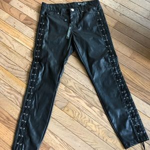New Blank NYC Vegan Leather Pants Lace Up Size 28